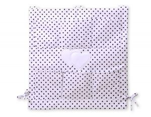 Cot tidy-  Hanging hearts black dots on white