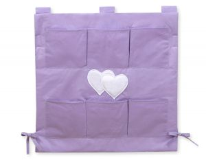 Cot tidy- Hanging Hearts lilac