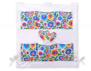 Cot tidy- Hanging hearts flower pattern