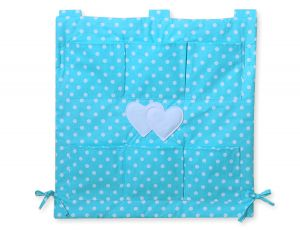 Cot tidy- Hanging Hearts white dots on turquoise