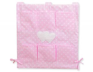 Cot tidy- Hanging Hearts white dots on pink