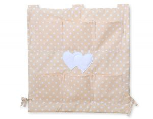 Cot tidy- Hanging Hearts white dots on beige