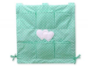 Cot tidy- Hanging Hearts white dots on mint