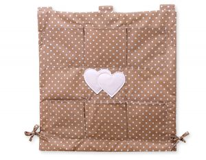 Cot tidy- Hanging Hearts white dots on brown