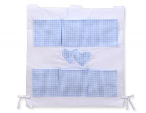 Cot tidy- Hanging Hearts blue checkered