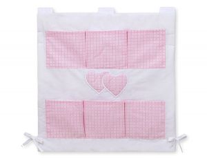 Cot tidy- Hanging Hearts pink checkered