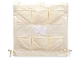 Cot tidy- Hanging Hearts cream
