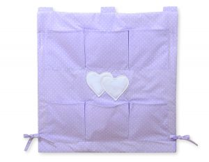 Cot tidy- Hanging Hearts white polka dots on lilac