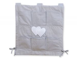 Cot tidy- Hanging Hearts white polka dots on grey