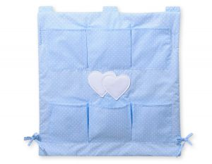 Cot tidy-  Hanging hearts white dots on blue