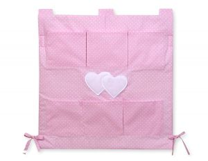 Cot tidy- Hanging Hearts white polka dots on pink