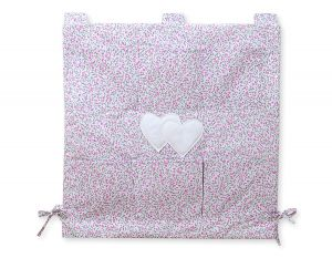 Cot tidy- Hanging Hearts pink flowers