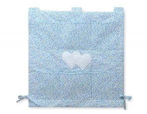 Cot tidy- Hanging Hearts blue flowers