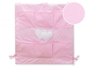 Cot tidy- Hanging Hearts pink strips