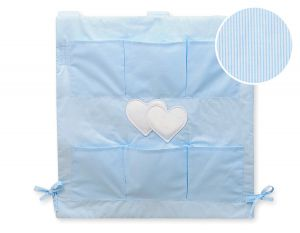 Cot tidy- Hanging Hearts blue strips