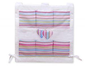Cot tidy- Hanging Hearts lilac strips