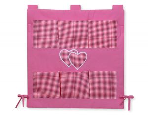 Cot tidy- Hanging Hearts dark pink checkered