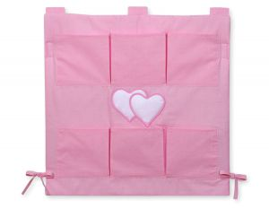 Cot tidy- Hanging Hearts pink