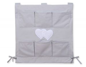 Cot tidy- Hanging Hearts grey