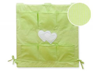 Cot tidy- Hanging Hearts green strips