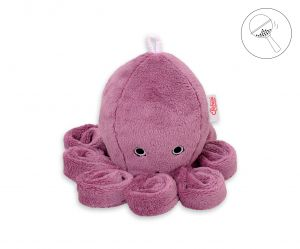 Cuddly octopus with rattle - pastel pink