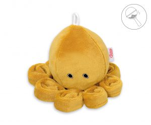 Cuddly octopus with rattle - honey yellow