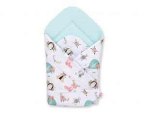Baby nest - foxes beige/mint