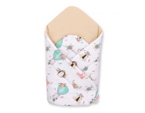 Baby nest with stiffening - foxes beige/beige