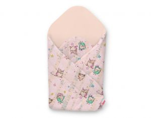 Baby nest with stiffening - owls cream-mint/powder pink