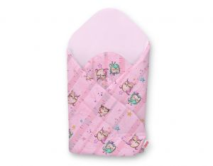 Baby nest with stiffening - owls pink-mint/pink