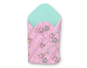 Baby nest with stiffening - owls pink-mint/mint