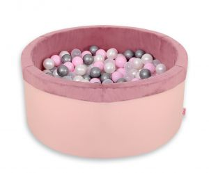 Ball-pit minky with balls 200pcs - pastel pink