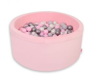 Ball-pit minky with balls 200pcs - pink