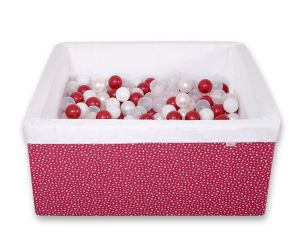 Ball-pit minky with balls 200pcs - wine red stars