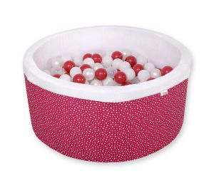 Ball-pit minky with balls 200pcs- wine red stars