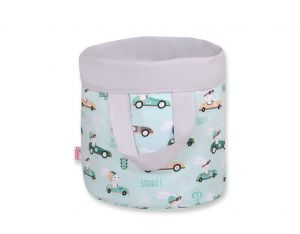 Double-sided toy basket M- mint rabbits/gray