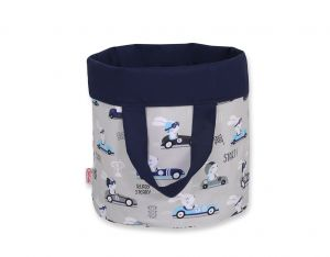 Double-sided toy basket S - gray rabbits/dark blue