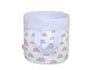 Double-sided toy basket M - clouds gray/blue
