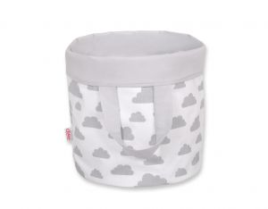 Double-sided toy basket L -  clouds gray/gray
