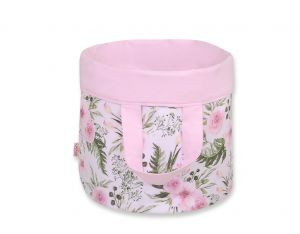 Double-sided toy basket M -  peony flower pink/pink