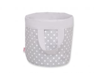 Double-sided toy basket L- white dots on gray/gray