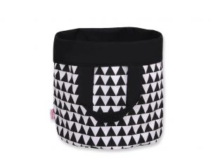 Double-sided toy basket M - triangles black/black