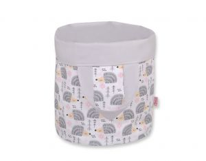 Double-sided toy basket M- hedgehogs gray/gray