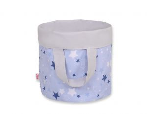 Double-sided toy basket L - blue-navy blue stars/grey