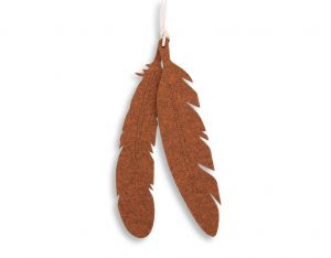 Decorative felt feathers 2pcs - rusty red