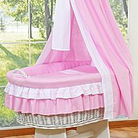 Moses basket/Wicker cribs with drape - big wheels