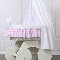 Moses baskets/Wicker crib with drape - big wheels