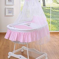 Moses baskets/Wicker cribs with drape - small wheels