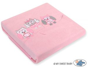 Polar fleece blanket - Owls Bigi Zibi & Adele- bright pink