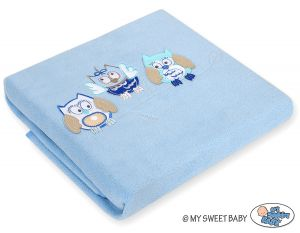Polar fleece blanket - Owls Bigi Zibi & Adele- bright blue